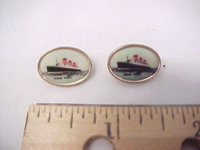 2 Vintage Buttons with Queen Mary Ship