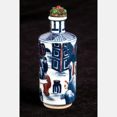 20th Century Chinese Snuff Bottle Blue & White Porcelain W/ Red Details