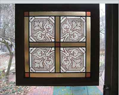 "Antique Stained Glass Window Stenciled Victorian Church Glass 1880s 26"" Sq Light"