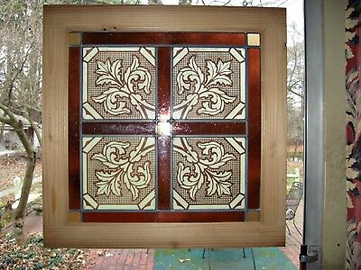 "Antique Stained Glass Window Stenciled Victorian Church Glass 1880s 26"" Sq Dark"