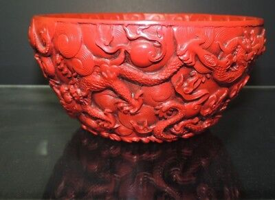 Vintage Extremely Rare Antique Scenic Chinese Red Lacquer Cinnabar Bowl