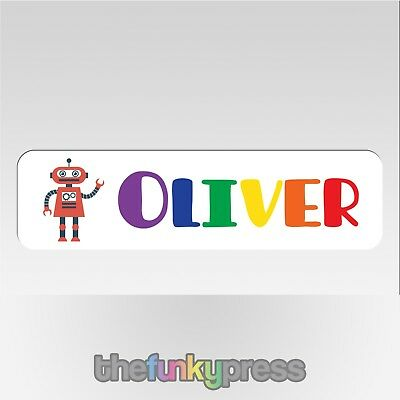 Personalised Robot With Rainbow Name Aluminium Bookmark Add Your Name For Free