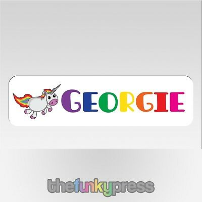 Personalised Unicorn With Rainbow Name Aluminium Bookmark Add Your Name For Free