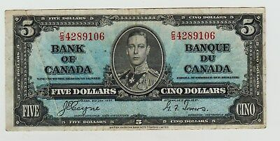 1937 Canada Five dollar Note