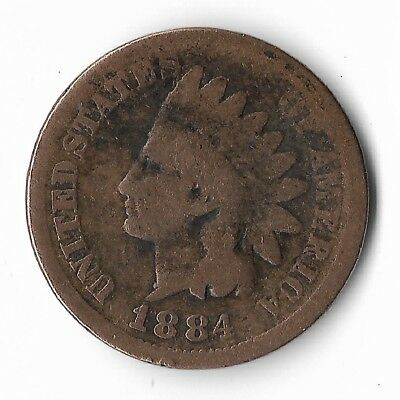 Rare Very Old Antique US 1884 Indian Head Penny USA Collection Nice Coin Cent