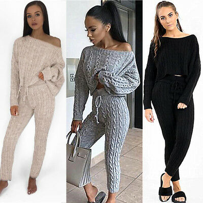 2PCS Womens Cable Knit Off Shoulder Oversize Sweater Top Lounge Wear Jumper Set