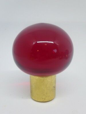 """Blenko Glass Finial - 1/4""""  Harp Fit- bright red old glass, new hardware"""
