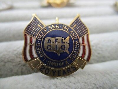 National Maritime Union of the Atlantic AFL CIO 20 Years Flag Vintage Enamel Pin
