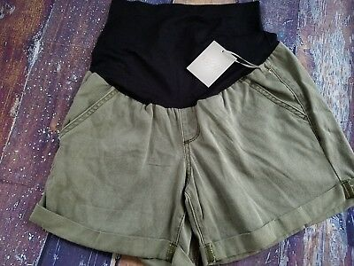NEW NWT A Glow Maternity Shorts Size 10 Belly Panel Cuffed Hems Twill Leaf Green