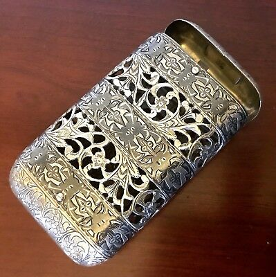 Combination Match Safe Cigarette Cigar Case Box Sterling? Silver Russian?