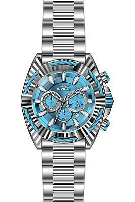 New Mens Invicta 28045 Bolt Quartz Chronograph Blue Silver Dial 50mm Watch