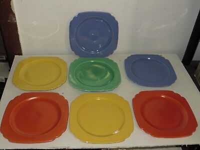 """# Vintage Lot Of 7 Fiesta Ware Square Plates 9"""" X 9"""" #"""