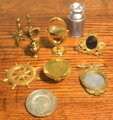 9 Vintage Metal Miniature Dressing Mirror Milk Can Etc For Dollhouse or Diorama