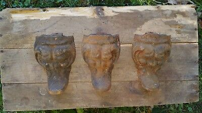 Vintage Ornate Cast Iron Claw Foot Bath Tub Stove Foot Antique Legs Lot of 3