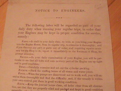 1858 Erie Railroad Notice To Engineers On How To Exam Locomotive Engine Rare