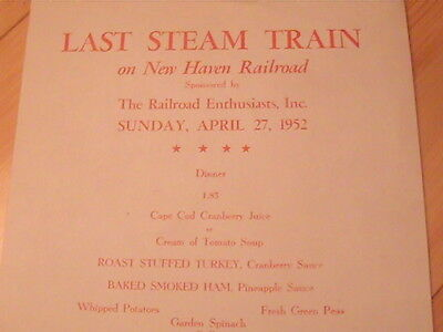 1952 New Haven Railroad Last Steam Train April 27 Menu Very Rare