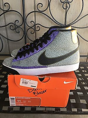 buy popular e9c07 680d4 2008 Nike Dunk BLAZER MID PREMIUM DQM SAFARI GREY BLACK CONCORD PURPLE  WHITE 11