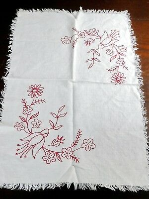 """Antique Hand Embroidered Table Runner Red Work Flowers 24x16"""" Linen"""