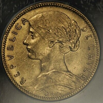 1917-So ANACS AU55 CHILE GOLD 20 PESOS KM-158