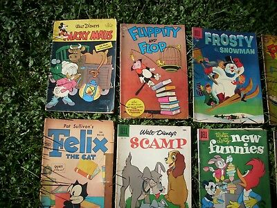 Golden Age Comic Books-Lot of 13 Cartoon Characters 1954-56,a German Mickey Maus