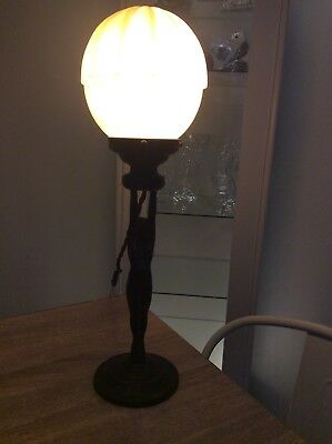 Original Nude Art Deco Lady Lamp With Shade