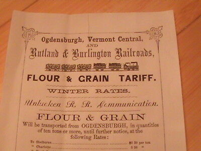 1860 Ogdensburgh Vermont And Rutland & Burlington Railroads Flour Grain Prices