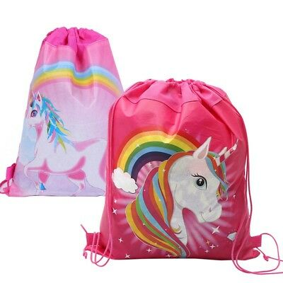Lovely Unicorn Drawstring Mini Backpack Girls Princess Swim Kids Shoes Party Bag
