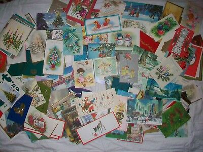 Large lot 195 vintage greeting cards; mostly Christmas 1950's 1960's