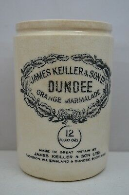 James Keiller & Son Orange Marmalade Jar Crock Stoneware Ceramic 12 Fluid Oz hQ