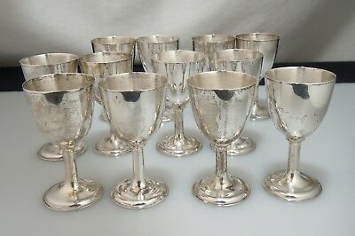 Vintage Asian Export Silver Cordial set of 12 Goblets 300g Chinese Japanese