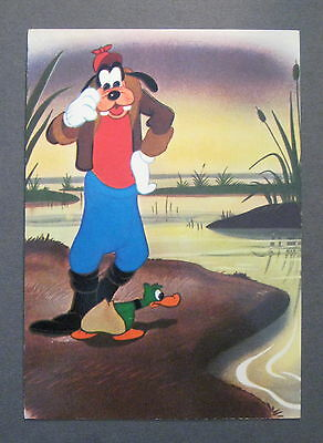 Vintage Disney Postcard - Goofy with Duck - Made in Italy *Duck Hunting*- (Q496)