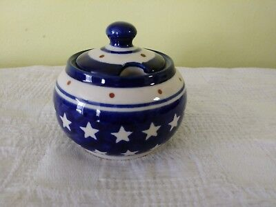 POLISH POTTERY STARS SUGAR JAR with LID IN BLUE AND BROWN DOTS , brand new