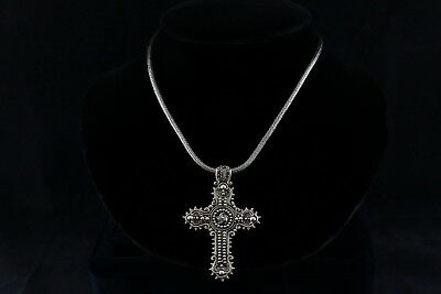 Vintage Signed Sterling Silver Byzantine Necklace with Cross Pendant - 59.1 g