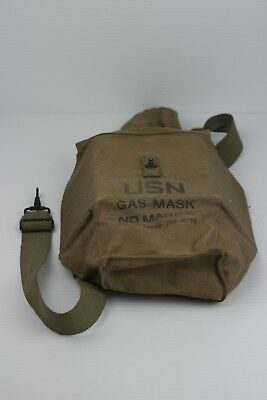 ORIGINAL USN Mark V 5 Gas Mask Canvas Carry Case Navy WWII WW2