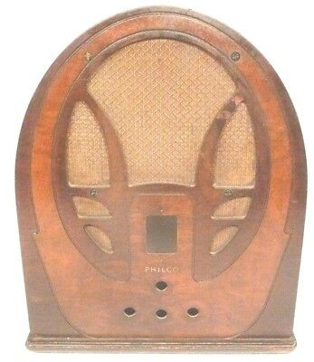 "vIntage 1933 PHILCO 89  CATHEDRAL:  WOOD SHELL & GRILL CLOTH  16"" x 13"" x 9"""
