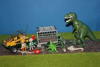 Playmobil Animaux Tyrannosaure Dino Chasseur Avec Chariot Zoo 2 Dinosaures