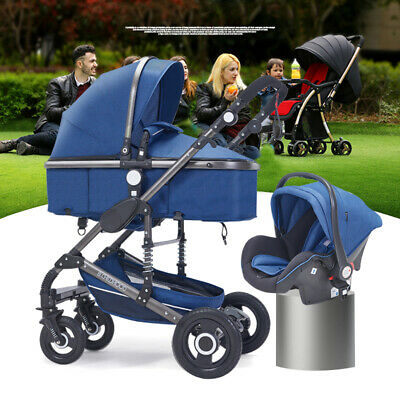 3 in 1 Bassinet&Car Seat Foldable Baby Stroller High View Pram Pushchairs~~