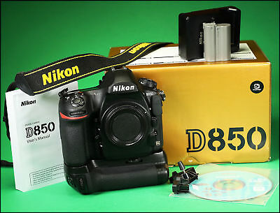 Nikon D850 Digital SLR Camera Body, With Battery, Charger, Grip, Manual & Box