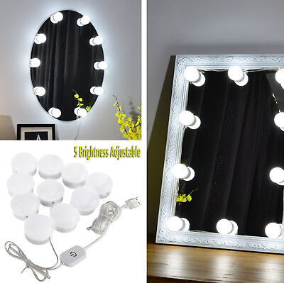 Dimmable 10 Bulbs LED Hollywood Vanity Mirror Light Lamps Strip Kit For Makeup