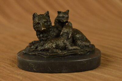 Beautiful Pure Bronze Mounted Wolves Statue Sculpture Bust Art Deco Marble Base