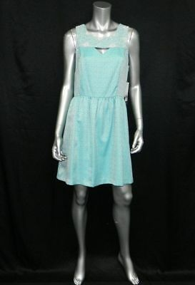 KENSIE NWT Teal Blue Dotted Sleeveless Cut-Out Front Skater Dress Jrs sz M $119