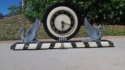 RARE Antique vintage Brass and marble bird clock 1900's