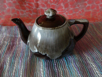 Pottery 2 Cup Teapot - Brown / Beige / White Glazed.