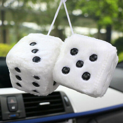 Auto: accessoires Sumex Blue & White Soft Fluffy Furry Car & Home Hanging Mirror Spotty Dice #30