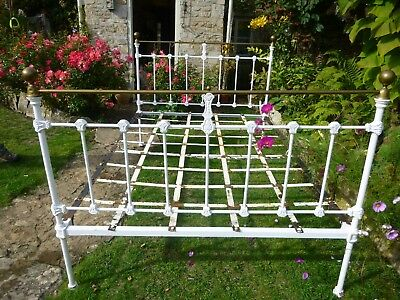 Original Victorian antique brass and cast iron double bed with original slats