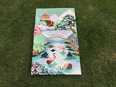 Large Vintage Tapestry Embroidered Oriental Picture Japanese Garden Hand Stitch