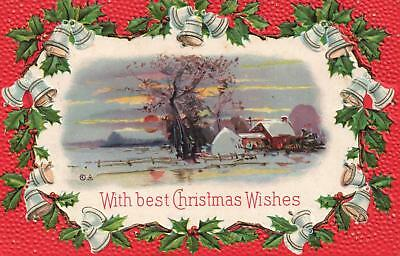EARLY 1900's VINTAGE EMBOSSED HOLLY BELLS WINTER SNOW CHRISTMAS WISHES POSTCARD