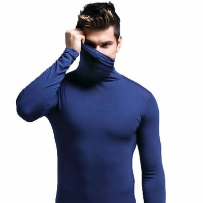 Men's Thermal Cotton Turtle Neck Skivvy Turtleneck Sweaters Tops Stretch T Shirt