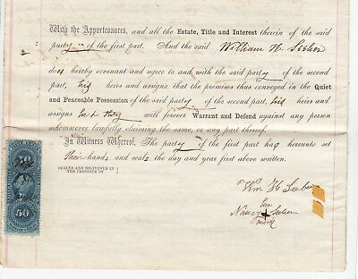 Canajoharie New York 1865 Deed, William H and Nancy Seeber