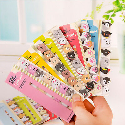 120x Cartoon Animal Sticker Post Bookmark Marker Memo Index Tab Sticky Note Cute